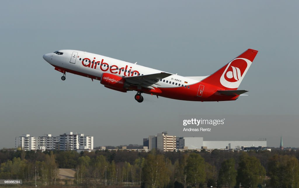 A passenger aircraft of Air Berlin Airlines departs at Tegel Airport on April 20 2010 in Berlin Germany After four days of complete shutdown the...