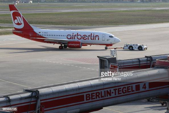 A passenger aircraft of Air Berlin Airlines prepares for takeoff at Tegel Airport on April 20 2010 in Berlin Germany After four days of complete...