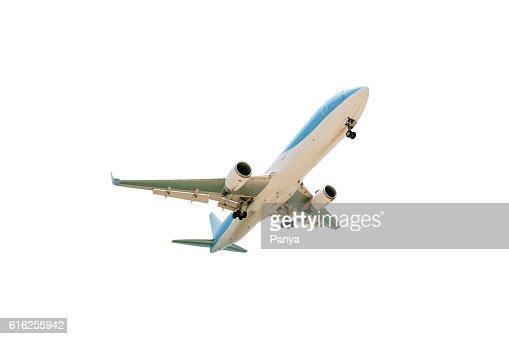 Avião de passageiros isolado num fundo branco. : Foto de stock