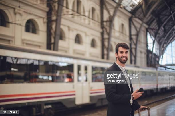 Passenger at train station