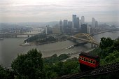 A passenger car travels down the Duquesne Incline on September 8 2008 in Pittsburgh Pennsylvania The Duquesne Incline opened in 1877 and is used to...