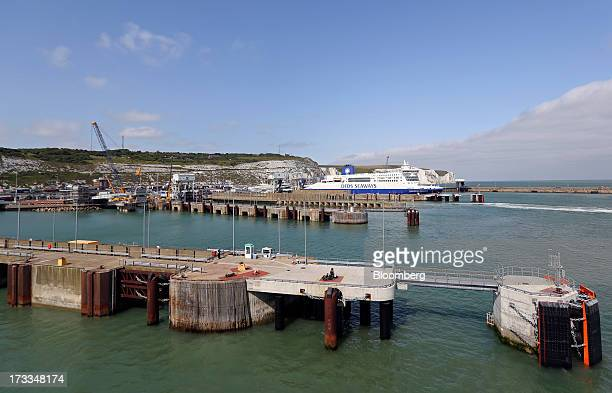 S passenger ferry sits docked in a berth at the Port of Dover in Dover UK on Thursday July 11 2013 Groupe Eurotunnel SA was barred by the UK...