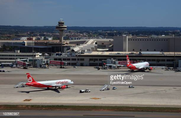 A passenger jet of the German airline Air Berlin after landing at the airport on May 25 2010 of Palma de Mallorca Spain