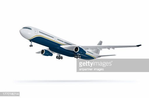 Passenger plane at take off on white