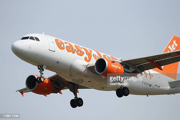 A passenger plane of discount airline easyJet arrives at Schoenefeld Airport which is adjacent to the new Willy Brandt Berlin Brandenburg...