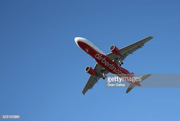 A passenger plane of German carrier Air Berlin arrives at Tegel Airport on April 21 2016 in Berlin Germany No new date has yet been confirmed for the...
