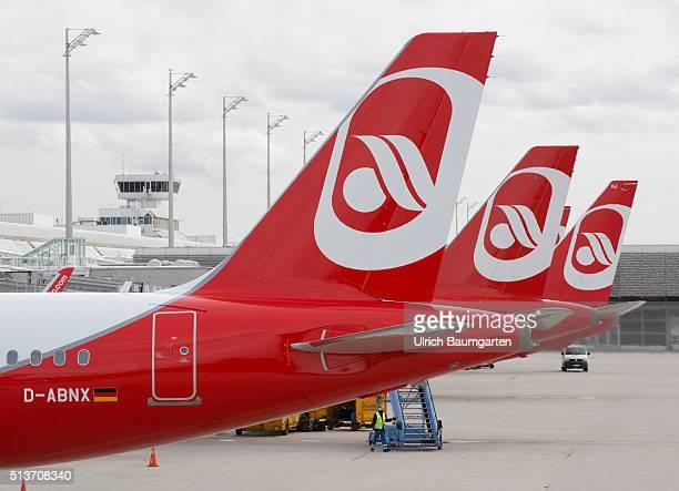 Passenger planes of Air Berlin on the FranzJosefStrauss airport in Munich