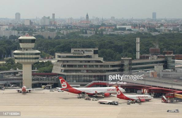 Passenger planes of Air Berlin stand at Tegel Airport on June 27 2012 near Berlin Germany Tegel was scheduled to close in early June of this year to...