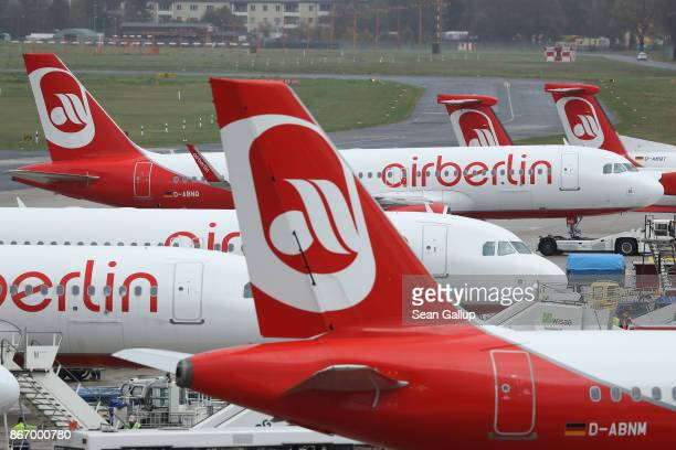 Passenger planes of airliner Air Berlin stand parked at Tegel Airport on the last day of Air Berlin operations on October 27 2017 in Berlin Germany...
