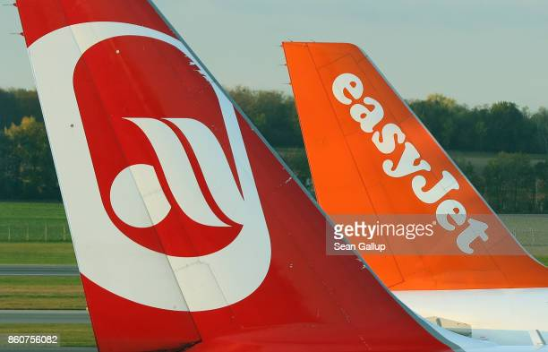 Passenger planes of airliners Air Berlin and easyJet stand at Vienna Airport on October 13 2017 in Schwechat Austria Air Berlin is bankrupt and will...