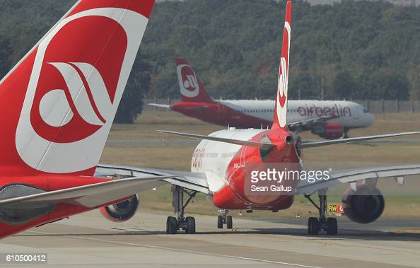 Passenger planes of German airliner Air Berlin prepare for takeoff at Tegel Airport on September 26 2016 in Berlin Germany According to media reports...