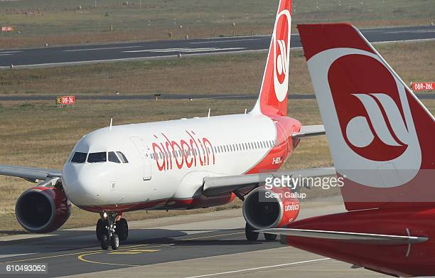 Passenger planes of German airliner Air Berlin stand at Tegel Airport on September 26 2016 in Berlin Germany According to media reports Air Berlin...