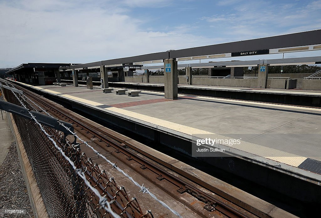 A passenger platform is seen vacant at the Bay Area Rapid Transit (BART) Daly City station on July 3, 2013 in Daly City, California. For a third day, hundreds of thousands of San Francisco Bay Area commuters are scrambling to find ways to work as two of San Francisco Bay Area Rapid Transit's (BART) largest unions remain on strike while they continue contract negotiations with management. Train operators, mechanics, station agents and maintenance workers are seeking a five percent wage increase and are fighting management who want to have workers to begin contributing to their pensions, pay more for health insurance and reduce overtime expenses.