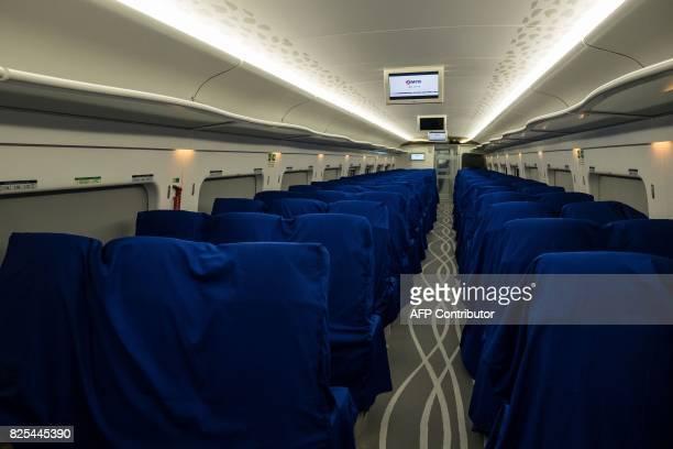 Passenger seats are seen inside a GuangzhouShenzhenHong Kong Express Rail Link train in Hong Kong on August 2 2017 / AFP PHOTO / POOL / Billy HC Kwok