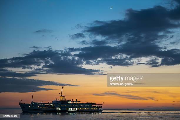 Passenger Ship and Moon