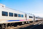 Passenger train on railroad