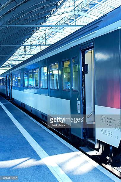 A passenger train that has just pulled into the train station in St. Gallen, Switzerland.