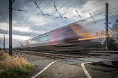 A Passenger train traveling at speed in England