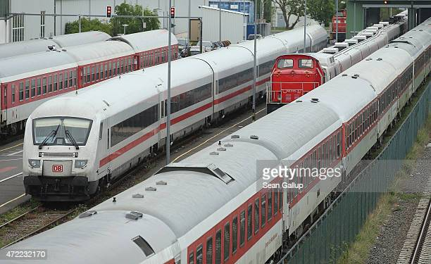 Passenger trains of German state rail carrier Deutsche Bahn stand idle on the first full day of a weeklong nationwide rail strike by the GDL train...
