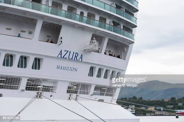 Passengers and crew on board PO Cruises ship Azura as she prepares to depart port on her seven day cruise from Southampton on August 15 2017 in...