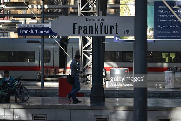 Passengers are seen at a train station during the strike of train drivers all across the Germany started 0200 AM in Frankfurt Germany on October 18...