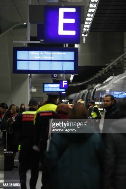 Passengers arrive with the ICE InterCityExpress Train at the Berlin central train station or Hauptbahnhof during the first journey of the high speed...