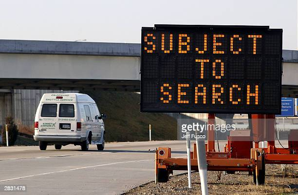Passengers arriving at Philadelphia International Airport are advised of a possible search of their vehicle on December 25 2003 in Philadelphia...