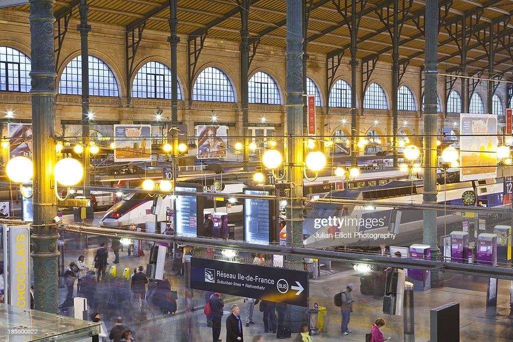 Passengers arriving in Paris Gare du Nord.