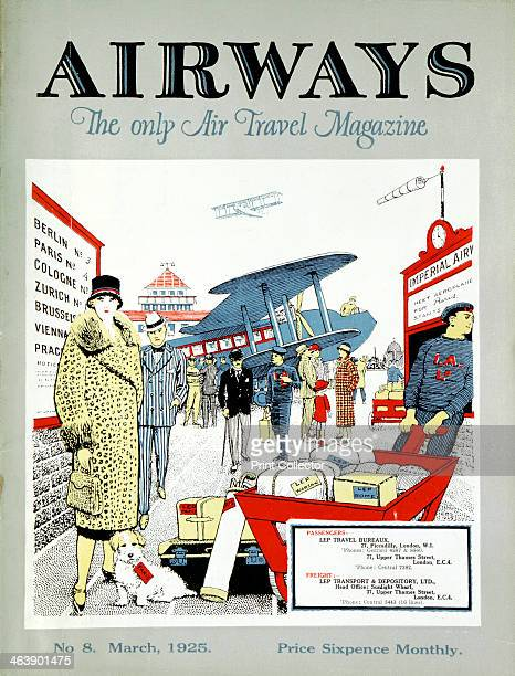 Passengers arriving to embark for Paris at Croydon Aerodrome London Cover for Airways magazine London March 1925