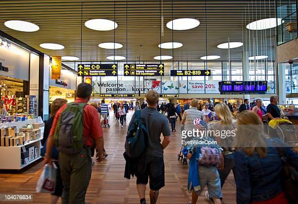 Passengers at Copenhagen International Airport on August 11 2010 in Copenhagen Denmark