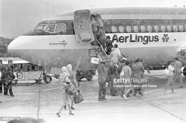 Passengers at Knock Airport for the first commercial Aer Lingus flights which took off on a pilgrimage to Rome