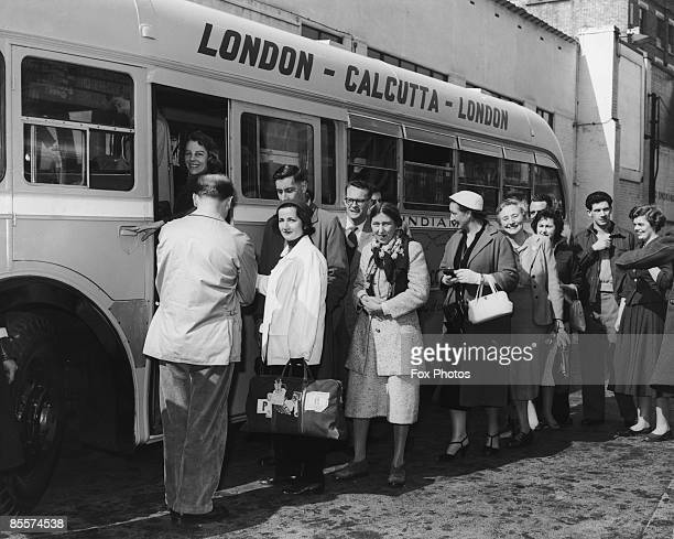 Passengers at Victoria Coach Station London boarding the first run of the world's longest coach route between London and Calcutta 15th April 1957 The...