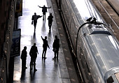 Passengers board AVE highspeed trains at Atocha train station on October 8 2015 in Madrid Spain A total of 20 trains and 7000 travellers were...