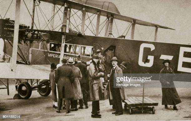 Passengers boarding an Imperial Airways aircraft for a flight to Paris c1924c1929 Imperial Airways was a British airline that operated from 1924...