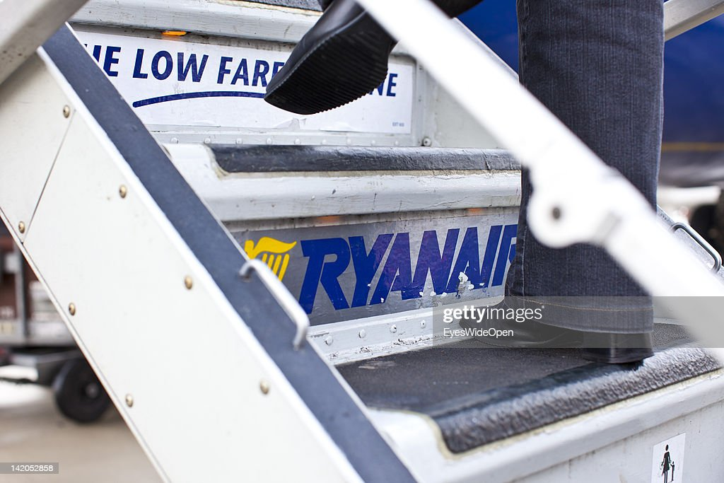 Passengers boarding for departure of a RyanAir flight at Allgaeu Airport on February 18, 2012 in Memmingen, Germany.