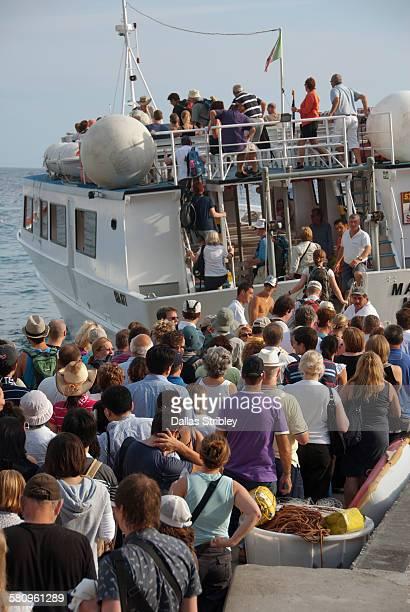 Passengers boarding the Capri ferry in Positano