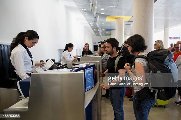 Passengers checkin for the the first commercial flight taking off at Castellon airport on September 15 2015 near Castellon de la Plana in Castellon...
