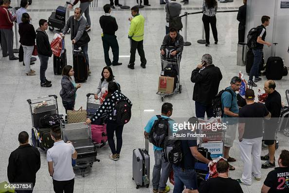 Passengers coming from the USA arrive at the new Terminal 3 Guarulhos International Airport Guarulhos Sao Paulo Brazil September 22nd 2014