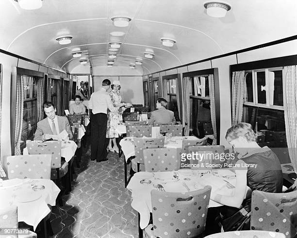 Passengers could eat hot meals costing 8/6 including roast dinners and other meat and fish dishes or have lighter meals costing about 2 shillings...