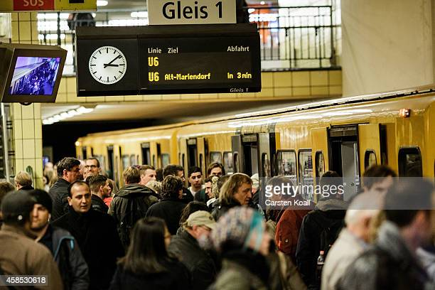 Passengers crowd the doors of the subway train retracted U6 line at the station Friedrichstrasse during a fourday strike by the GDL train drivers...