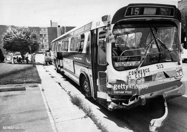 Passengers from Metro Transit bus Accident wait for another Carrier The bus collided with a pickup truck at E 12th Ave and Colorado Blvd Tuesday...