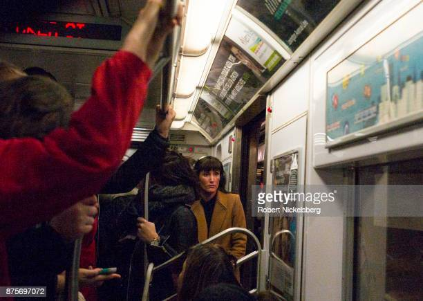 Passengers in a subway car crowd together during evening rush hour in the Manhattan borough of New York City November 13 2017 The New York subway...