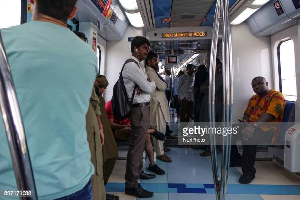 Passengers in Dubai Metro the first kind of rail transportation in UAE on 10 October 2016 Dubai is the largest and most populous city in the United...
