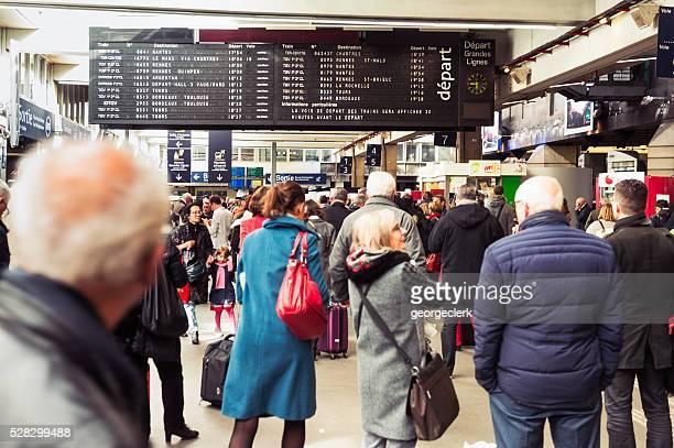 Passengers in Montparnasse train station in Paris