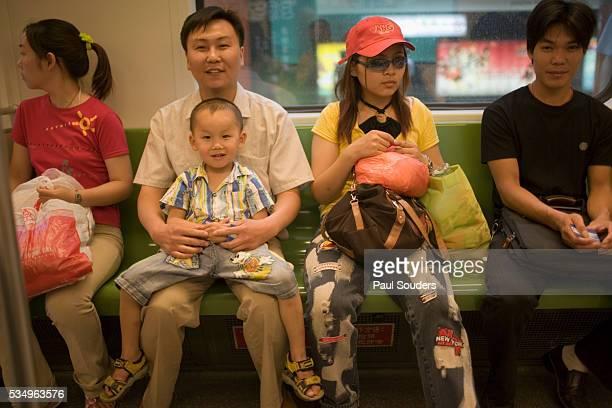 Passengers in Shanghai Metro Train