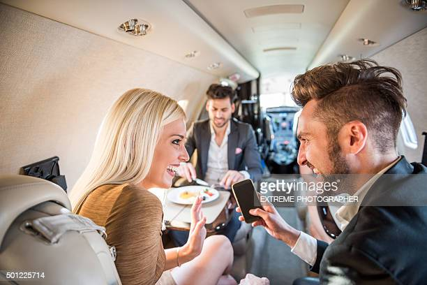 Passengers inside private jet aeroplane