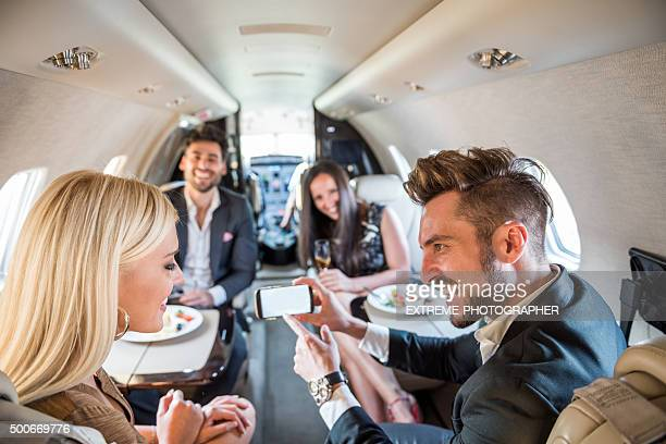 Passengers inside private jet airplane