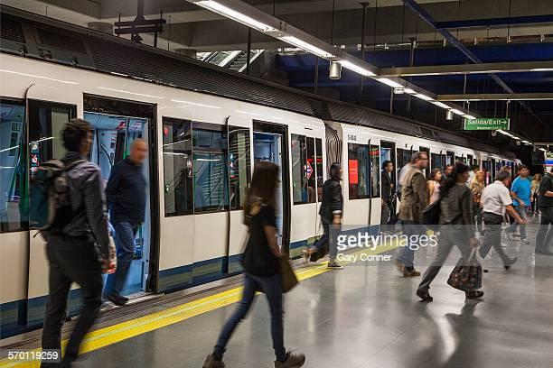 Passengers leaving Metro train