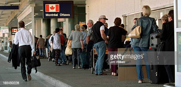 AIRPORT 3 / 09/17/01 Passengers leaving on domestic flights from Terminal 2 at Toronto's Pearson airport faced long lines and huge delays So many...