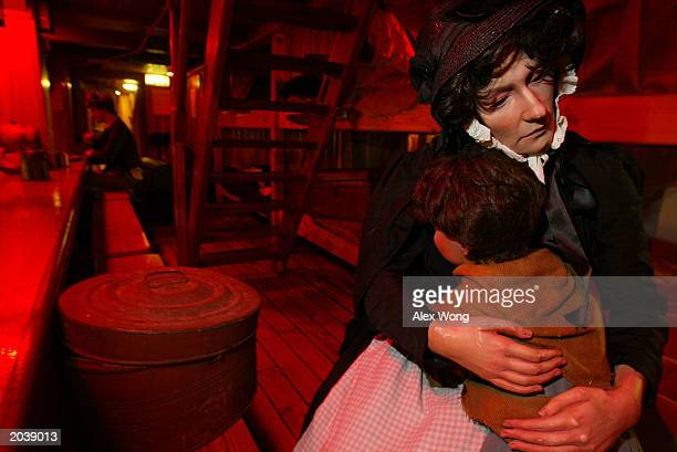 A passenger's life is replicated on the lower deck on the replica of the original Irish famine ship Jeanie Johnston May 29 2003 in Washington DC The...